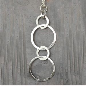 Handcrafted Textured Circles Drop Necklace